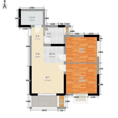 大唐新干线2室0厅1卫1厨68.00㎡户型图