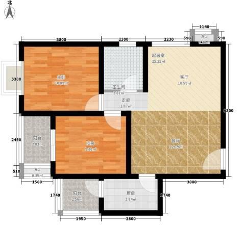 芊域阳光2室0厅1卫1厨87.00㎡户型图