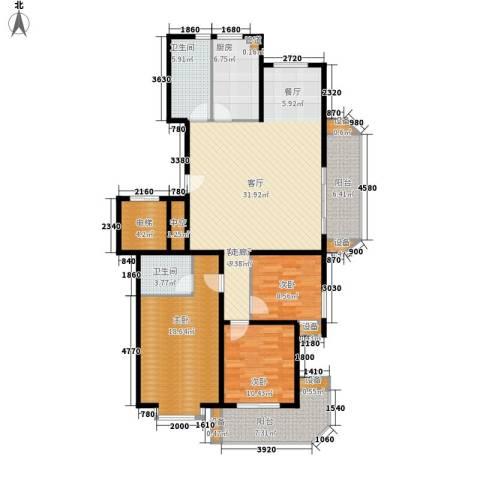 华宇未来城3室1厅2卫1厨132.00㎡户型图