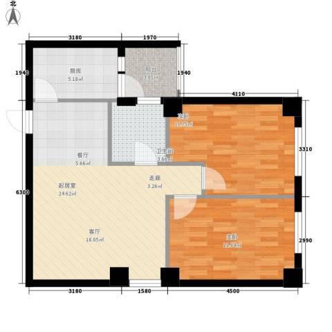山海一家三期2室0厅1卫1厨87.00㎡户型图