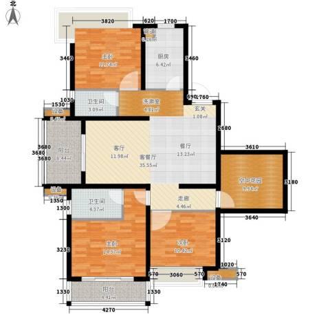 国耀星达城3室1厅2卫1厨126.00㎡户型图