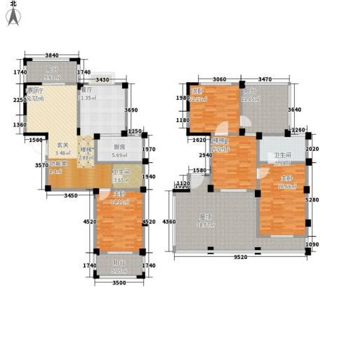 五里汉城3室1厅2卫1厨180.00㎡户型图