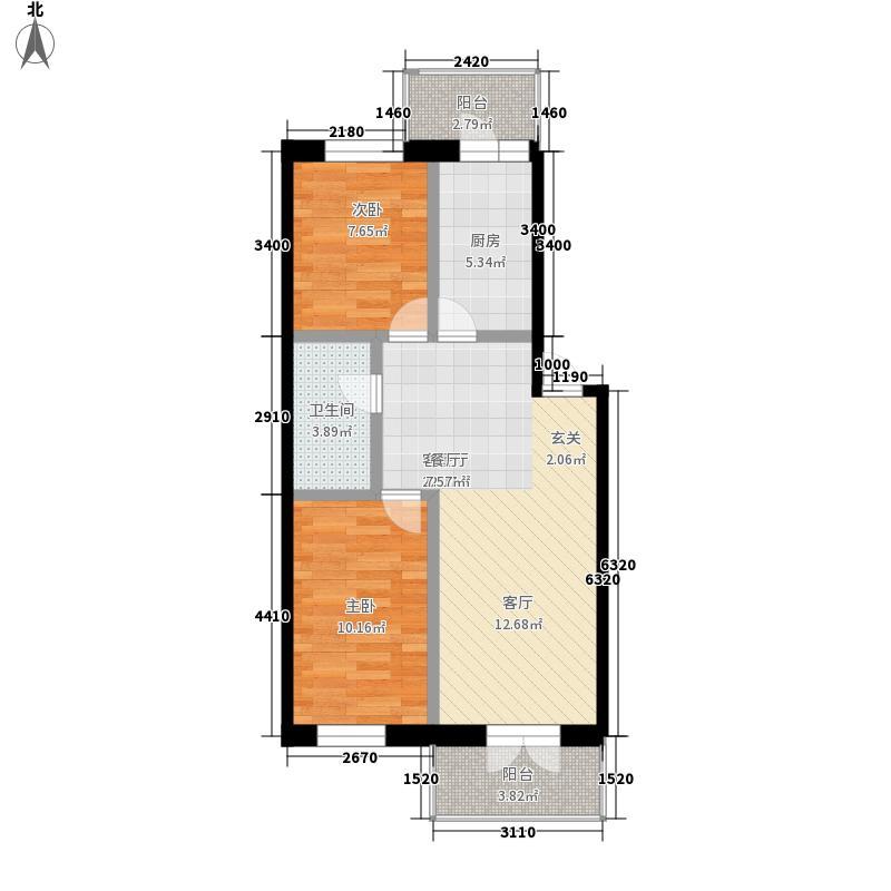 江畔方元98.00㎡江畔方元户型图多层2室1厅1卫1厨户型2室1厅1卫1厨