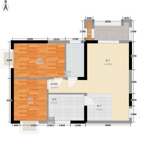 大唐新干线2室0厅1卫1厨85.00㎡户型图