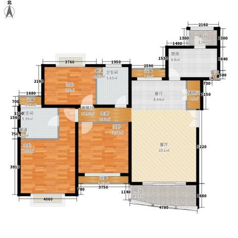 新梅共和城3室1厅2卫1厨125.00㎡户型图
