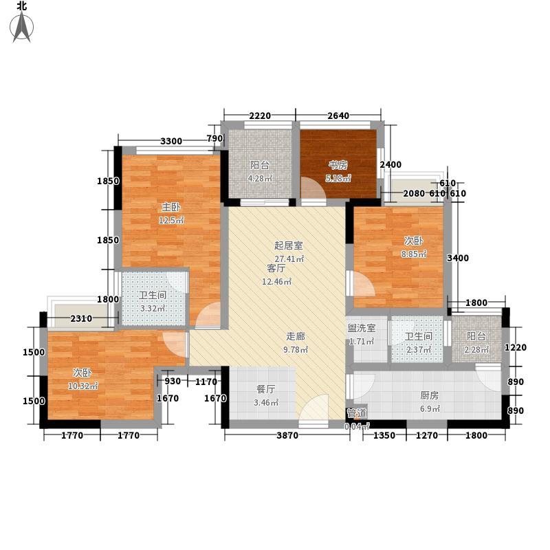 景茂雍水岸郦府5.82㎡4号楼标准层A1户型2室2厅2卫1厨