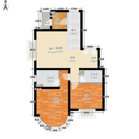 鹿港嘉苑2室0厅2卫1厨104.00㎡户型图