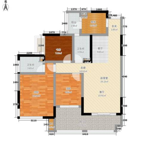 陕西交通职业技术学院家属院3室0厅2卫1厨136.00㎡户型图