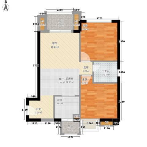 龙升豪苑2室0厅1卫1厨112.00㎡户型图