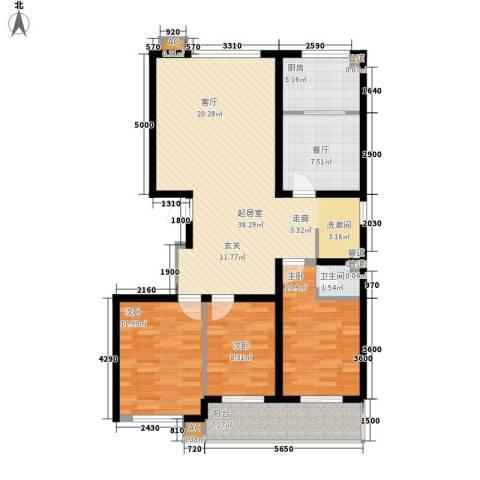 绿景城市中央3室1厅1卫1厨124.00㎡户型图