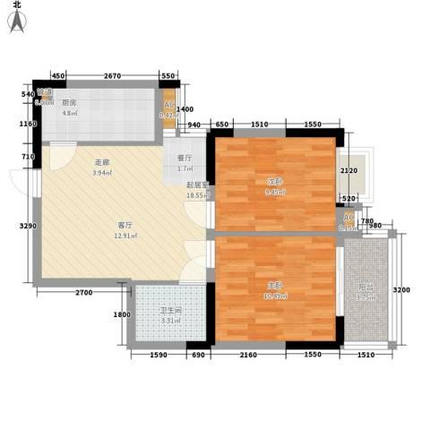 大唐新干线2室0厅1卫1厨74.00㎡户型图
