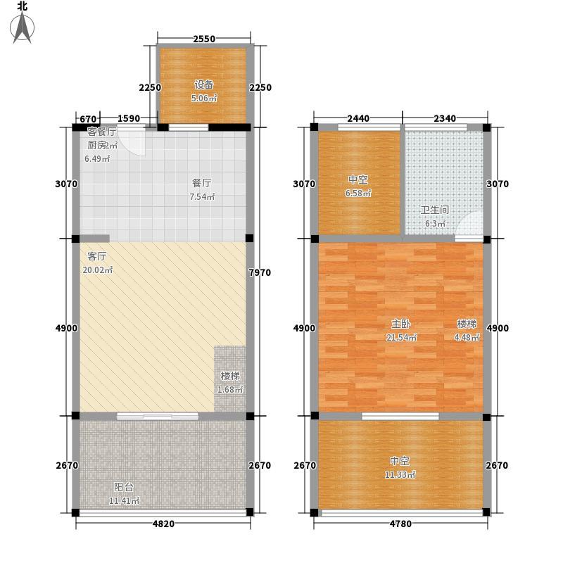 天鹅湖66.26㎡LOFT公寓户型1室2厅1卫