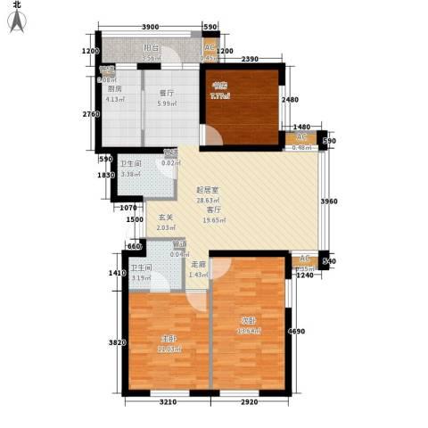 悦山国际3室0厅2卫1厨88.76㎡户型图