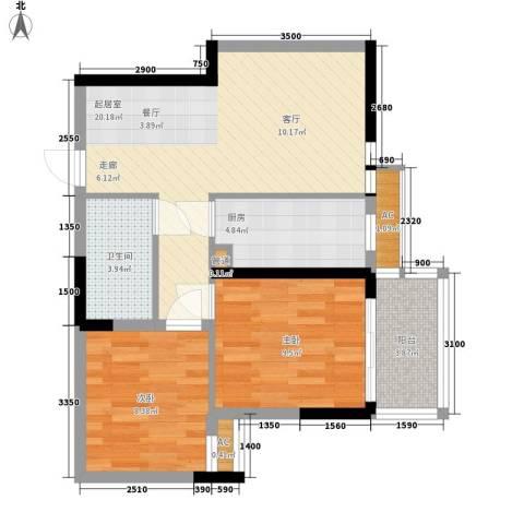 大唐新干线2室0厅1卫1厨70.00㎡户型图