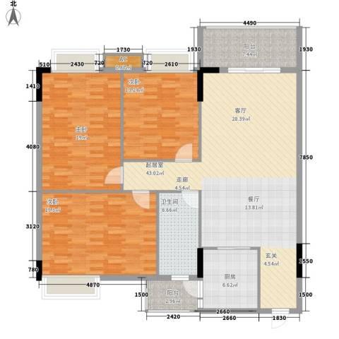 富康豪庭二期3室0厅1卫1厨131.00㎡户型图