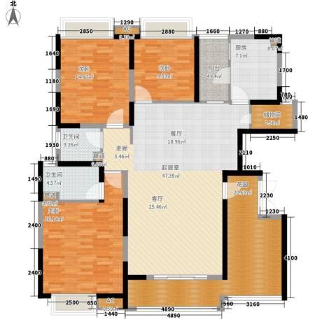 富康豪庭二期3室0厅2卫1厨136.14㎡户型图