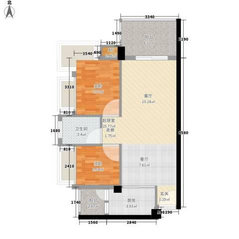 东骏豪苑2室0厅1卫1厨55.17㎡户型图