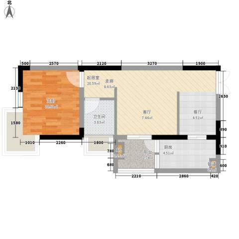 左岸美邻1室0厅1卫1厨61.00㎡户型图