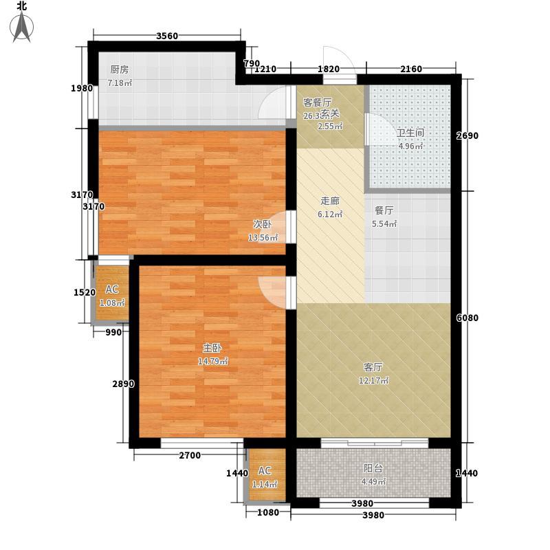 中国铁建国际城84.00㎡D户型2室2厅