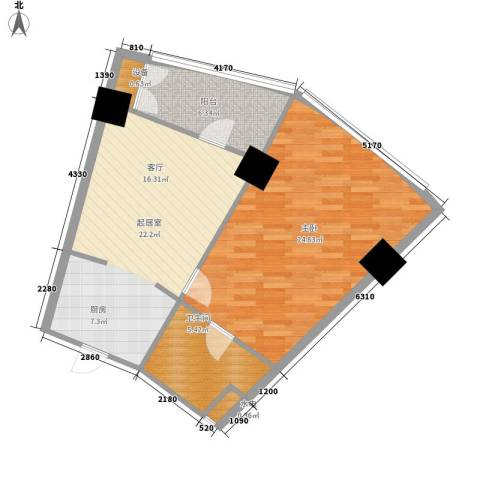 擎天半岛滨海国际公寓1室0厅1卫0厨83.00㎡户型图