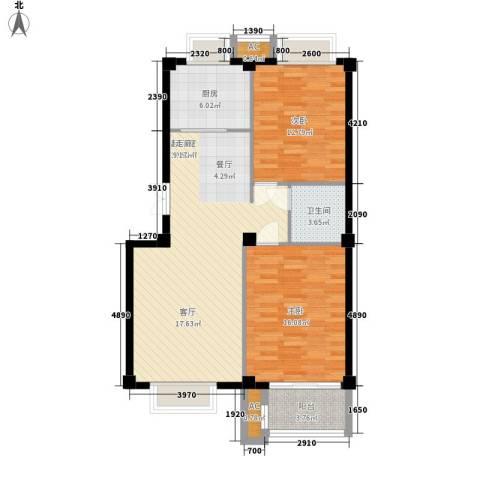 大唐新干线2室0厅1卫1厨84.00㎡户型图
