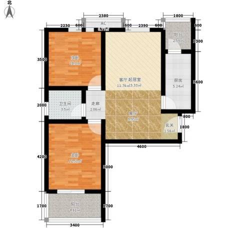 芊域阳光2室0厅1卫1厨88.00㎡户型图