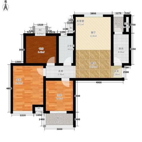 芊域阳光3室0厅1卫1厨97.00㎡户型图