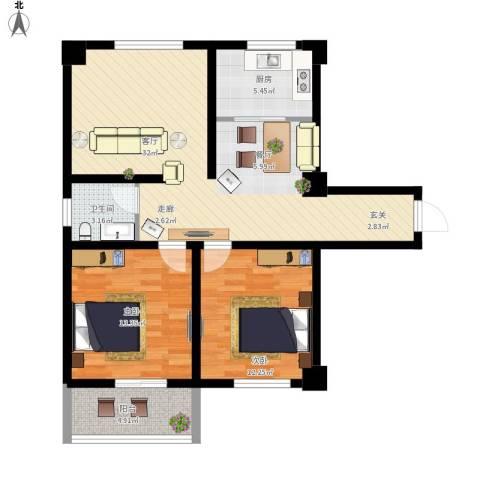 昆明湖畔2室1厅1卫1厨103.00㎡户型图