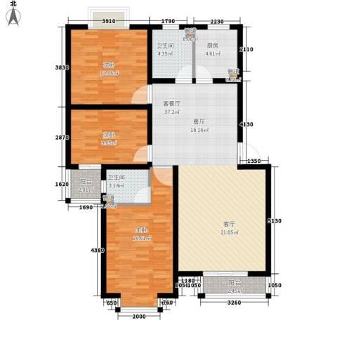 嘉兴青年新城3室1厅2卫1厨105.00㎡户型图