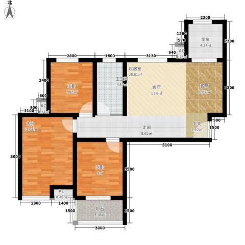 芊域阳光3室0厅1卫1厨100.00㎡户型图