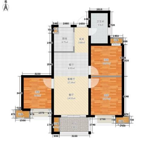 国耀星达城3室1厅1卫1厨89.00㎡户型图