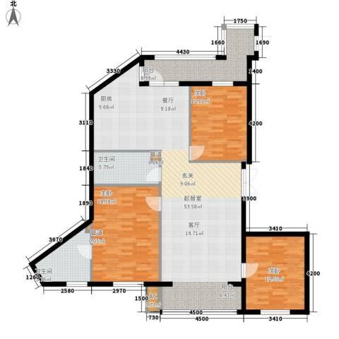 悦山国际3室0厅2卫0厨131.40㎡户型图