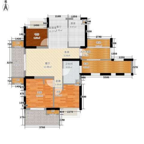 赞成美林3室0厅1卫1厨88.00㎡户型图