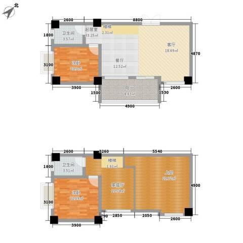 汇丰国际度假公寓2室0厅2卫0厨104.00㎡户型图