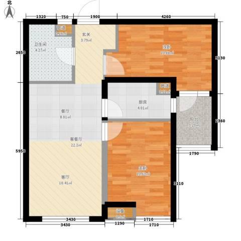 河畔新城・名门组团2室1厅1卫1厨77.00㎡户型图