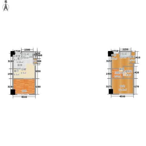 赞成美林2室0厅2卫0厨66.49㎡户型图