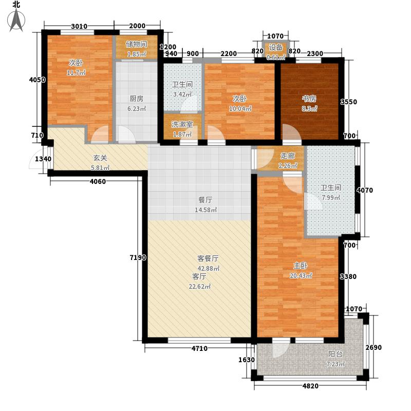 河畔新城・名门组团户型图E1户型 4室2厅2卫1厨