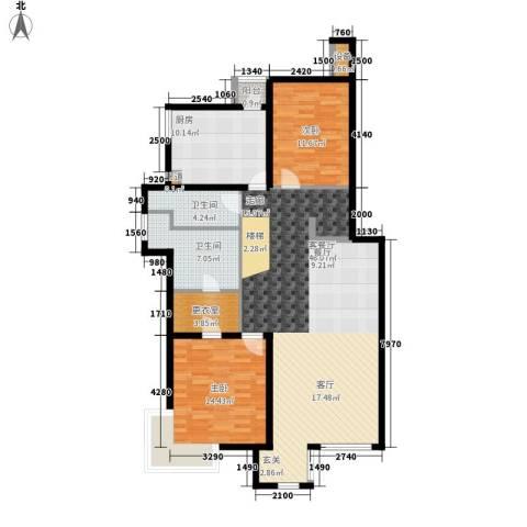 傲城尊邸2室1厅2卫1厨140.00㎡户型图