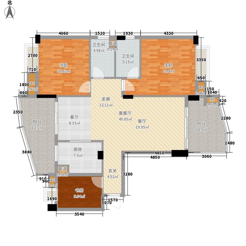佛山雅居乐花园155.00㎡佛山雅居乐花园户型图D型洋房01单位3室2厅2卫1厨户型3室2厅2卫1厨