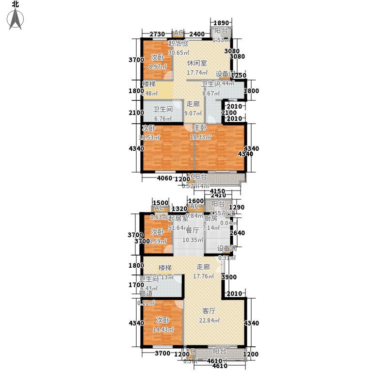 景泰翰林267.00㎡户型G1跃层-1户型6室2厅3卫1厨