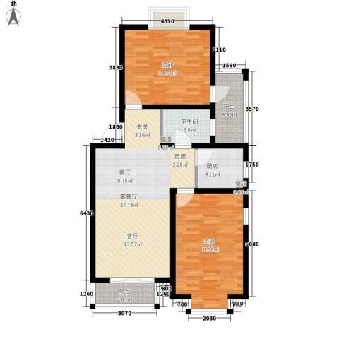 嘉兴青年新城2室1厅1卫1厨84.00㎡户型图