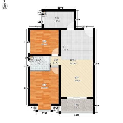 嘉兴青年新城2室1厅1卫1厨73.00㎡户型图