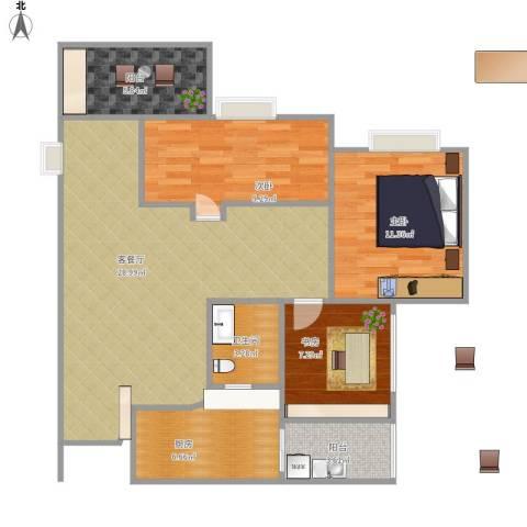 奥体中央公园3室1厅1卫1厨103.00㎡户型图