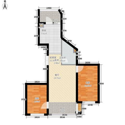 悦山国际2室0厅1卫1厨64.16㎡户型图