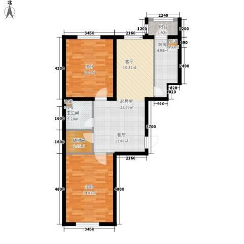 金嘉水岸2室0厅1卫1厨72.09㎡户型图