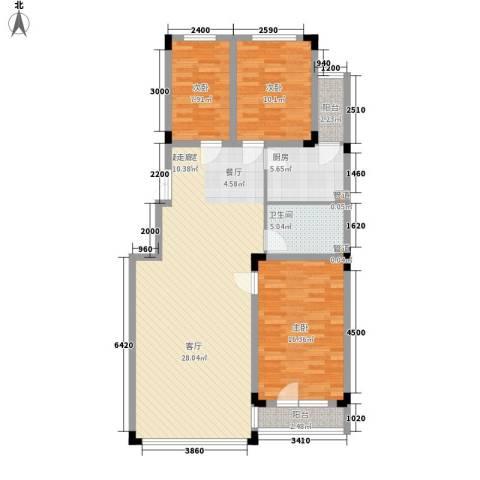 亿洲百旺郦城3室0厅1卫1厨120.00㎡户型图