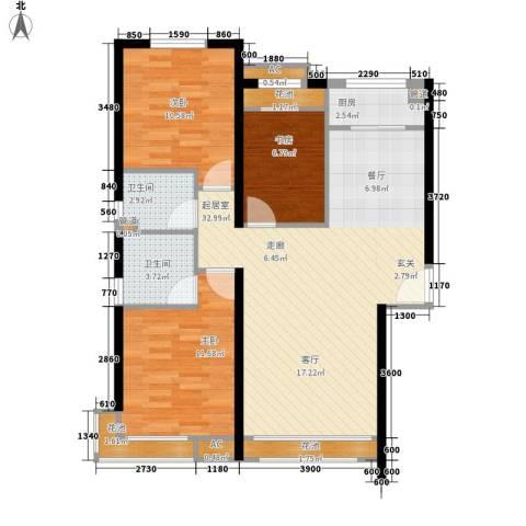 汤河铭筑3室0厅2卫1厨109.00㎡户型图