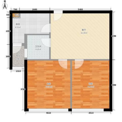 天骄国际2室1厅1卫1厨71.88㎡户型图