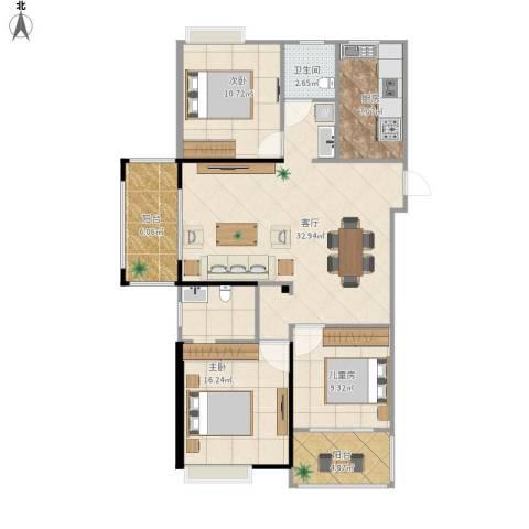 海陵首府3室1厅1卫1厨131.00㎡户型图