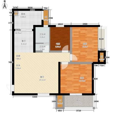 卡布奇诺国际社区3室0厅2卫1厨106.00㎡户型图
